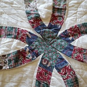 Vintage well worn Queen Patchwork Quilt